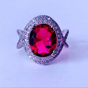 NEW! LARGE OVAL RUBY RED CZ 925 SILVER COCKTAIL